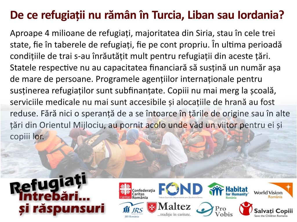 De ce refugiatii nu raman in Turcia, Liban sau Iordania?