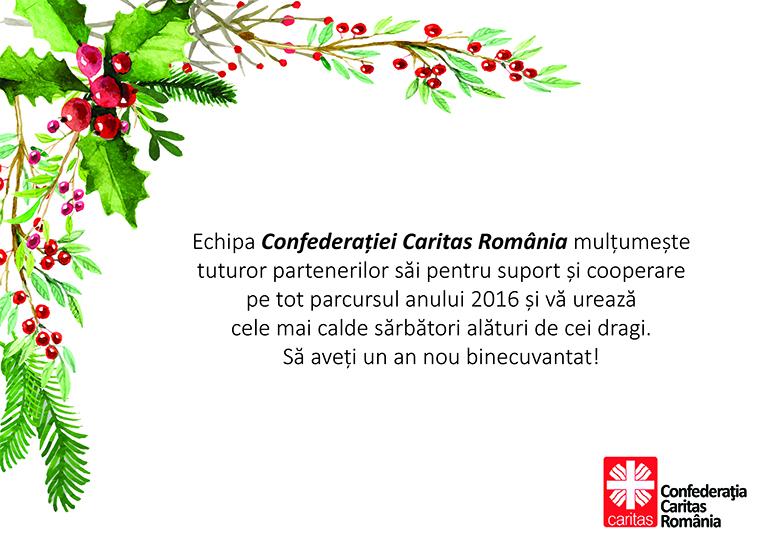 Confederatia Caritas Romania va ureaza Sarbatori Fericite!